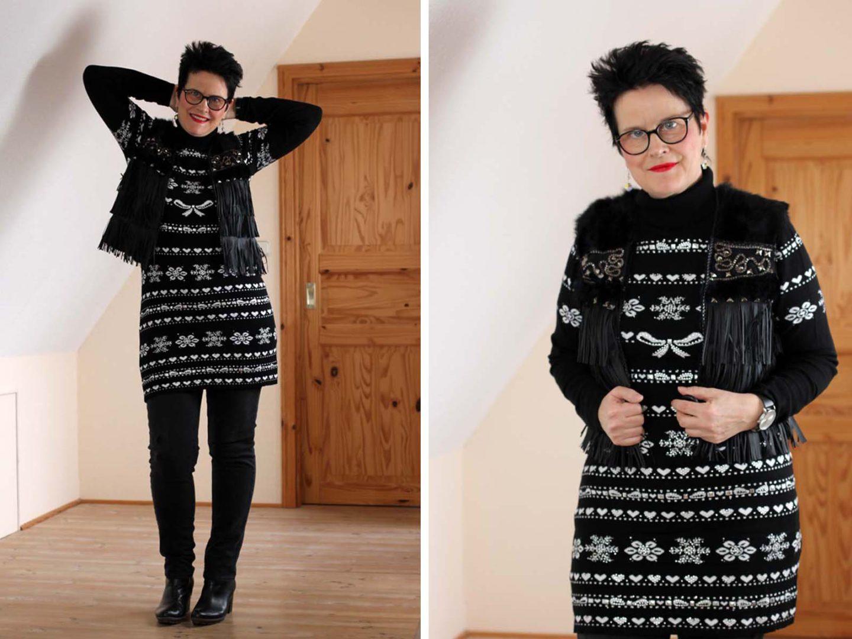 Winterkleid und Fransenweste