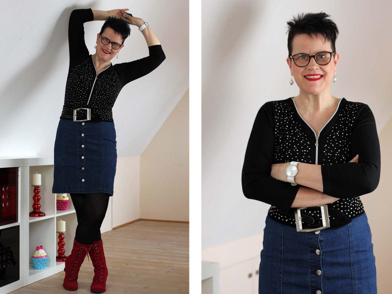Jeansrock mit roten Schnürstiefeln #Werbung