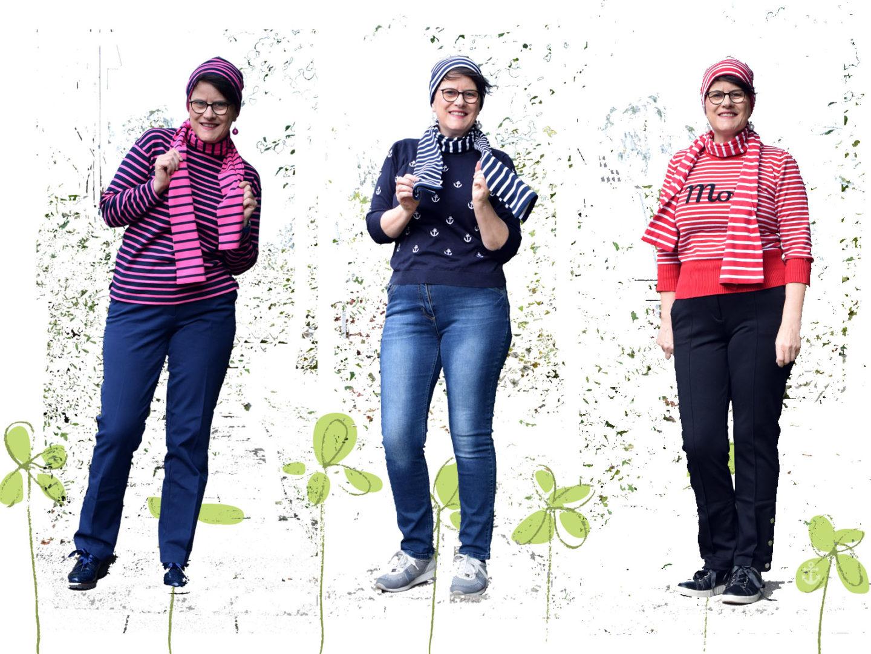 Bretonische Streifen in drei unterschiedlichen Looks